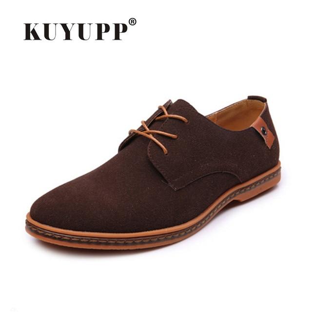 KUYUPP Italian Style Men Casual Shoes Luxury Leather Shoes Large Size 38-48 Business Oxfords Men Flat Shoes S05652