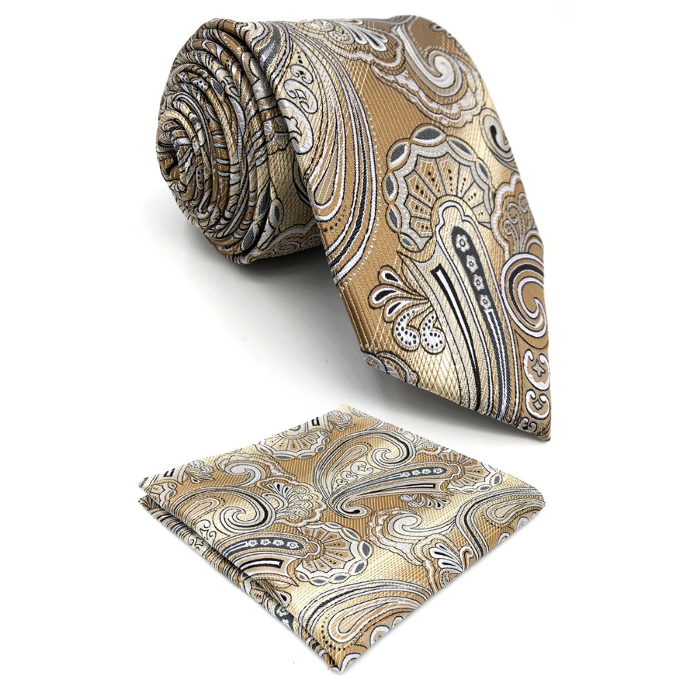 D4 Khaki Abstract Mens Necktie Silk Classic Groom Extra long size 63 Accessory Fashion Hanky Ties for male