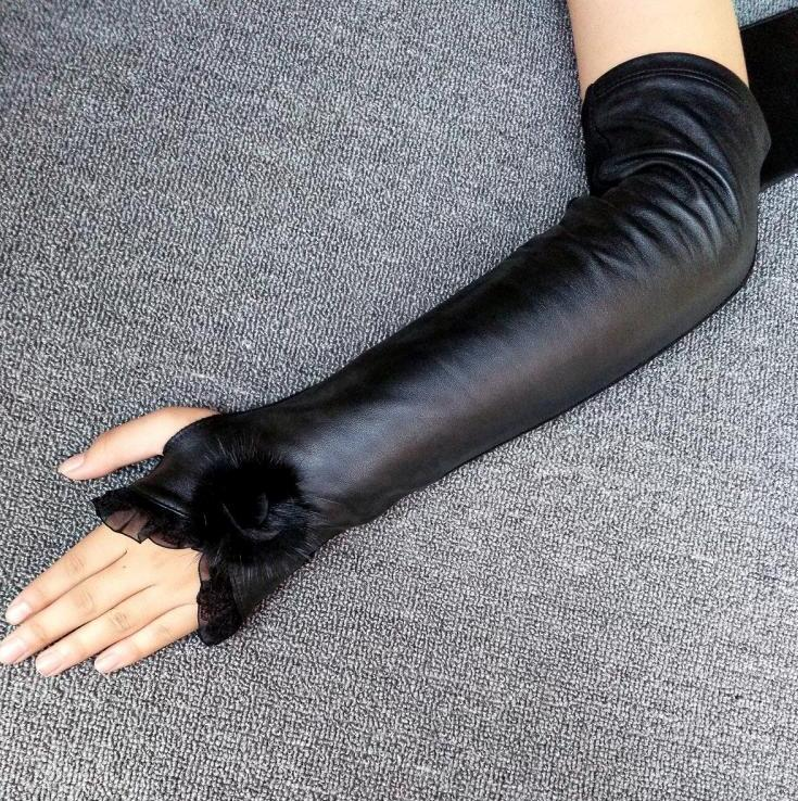 Dedicated Womens Autumn Winter Natural Sheepskin Leather Patchwork Kniited Yarn Elastic Long Leather Glove Ladys Long Arm Sleeve R588 Sale Overall Discount 50-70% Apparel Accessories