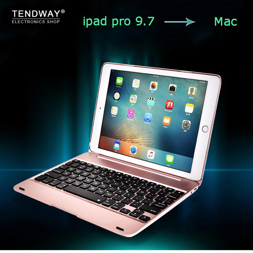tendway wireless bluetooth keyboard cover case for apple ipad pro 9 7 case top flip tablet case. Black Bedroom Furniture Sets. Home Design Ideas