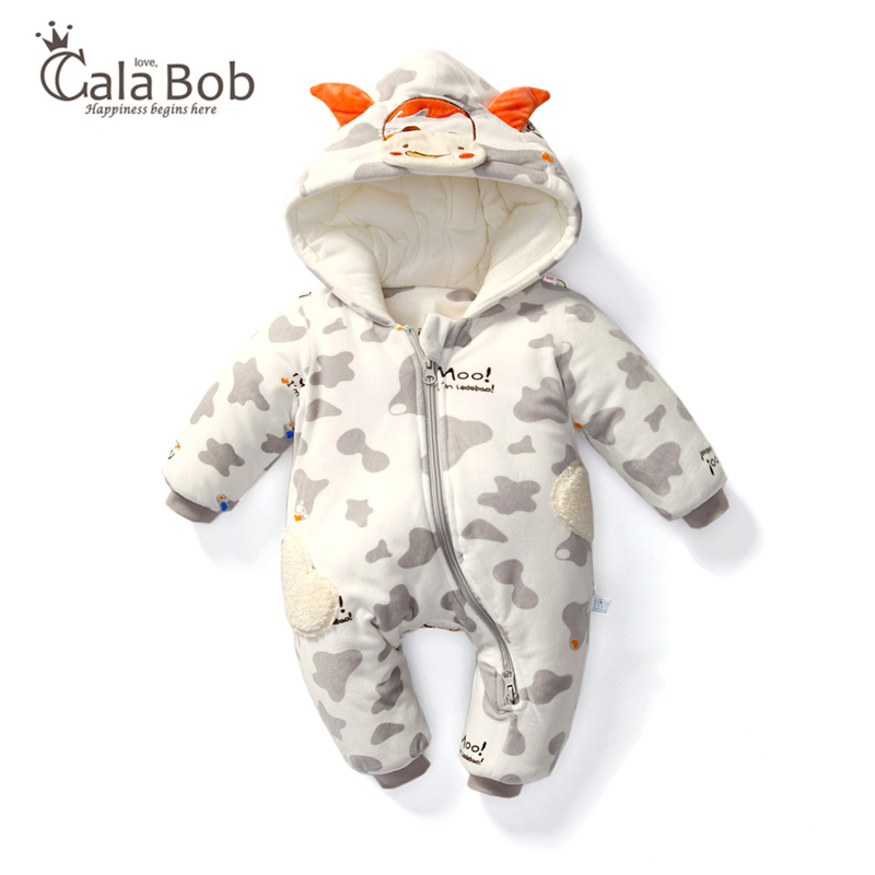 CalaBob 2017 Baby Rompers Winter Thick Warm Baby Boy Girl Clothes Long Sleeve Hooded Jumpsuit Kids Newborn Outwear