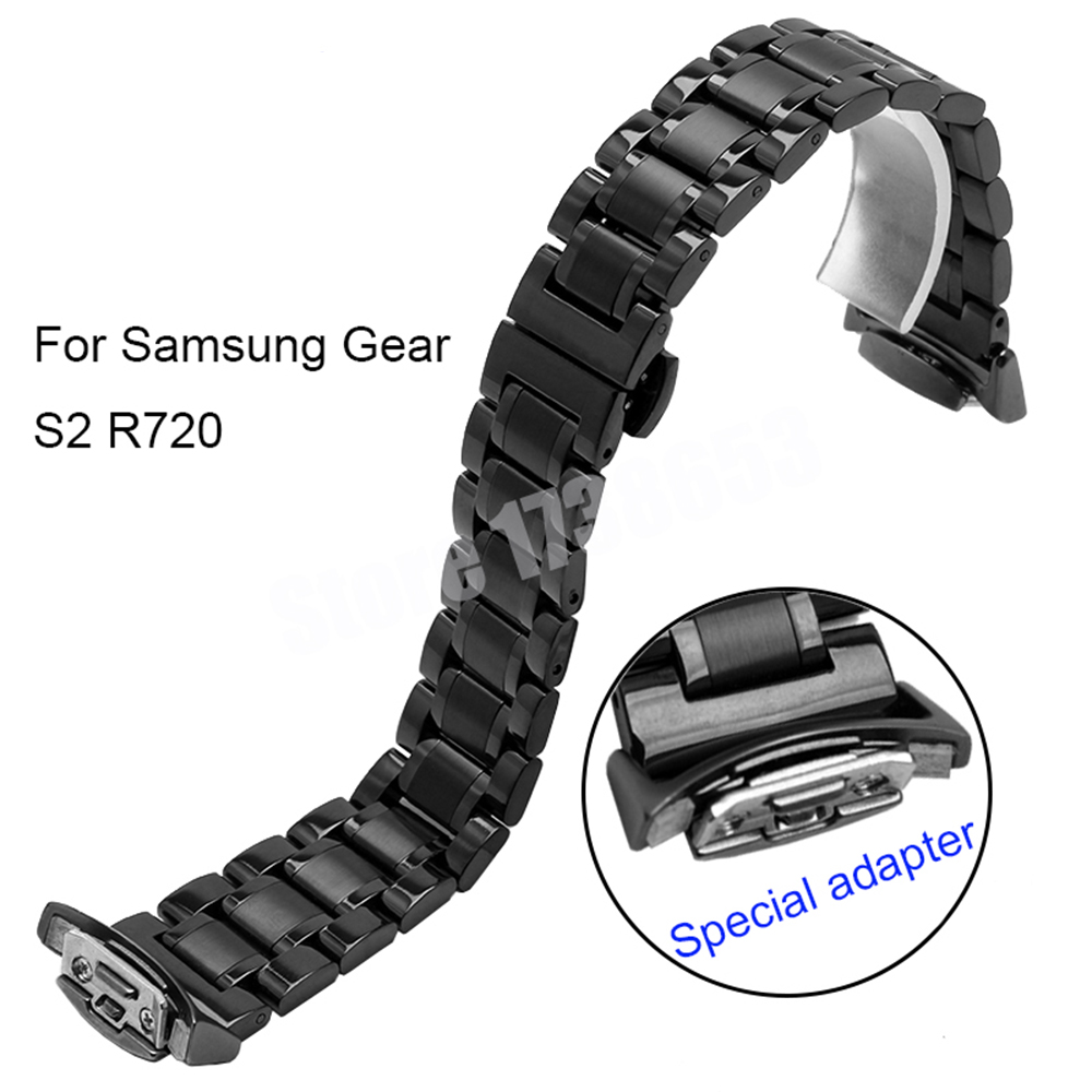 Smart Watchband 20mm Quality Solid Stainless Steel Watch band For Samsung Gear s2 R720 with Adapter +Tool