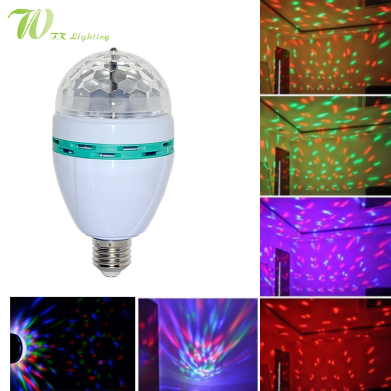 6W RGB Bulb Spotlight Full Colour Auto Rotating KTV Lamp LED Crystal Stage Light Laser  Party Bulb LED Colorful Indoor  Lighting aosl w883 5 e27 8w 640lm 7 led rgb white auto rotating crystal stage light white ac85 260v