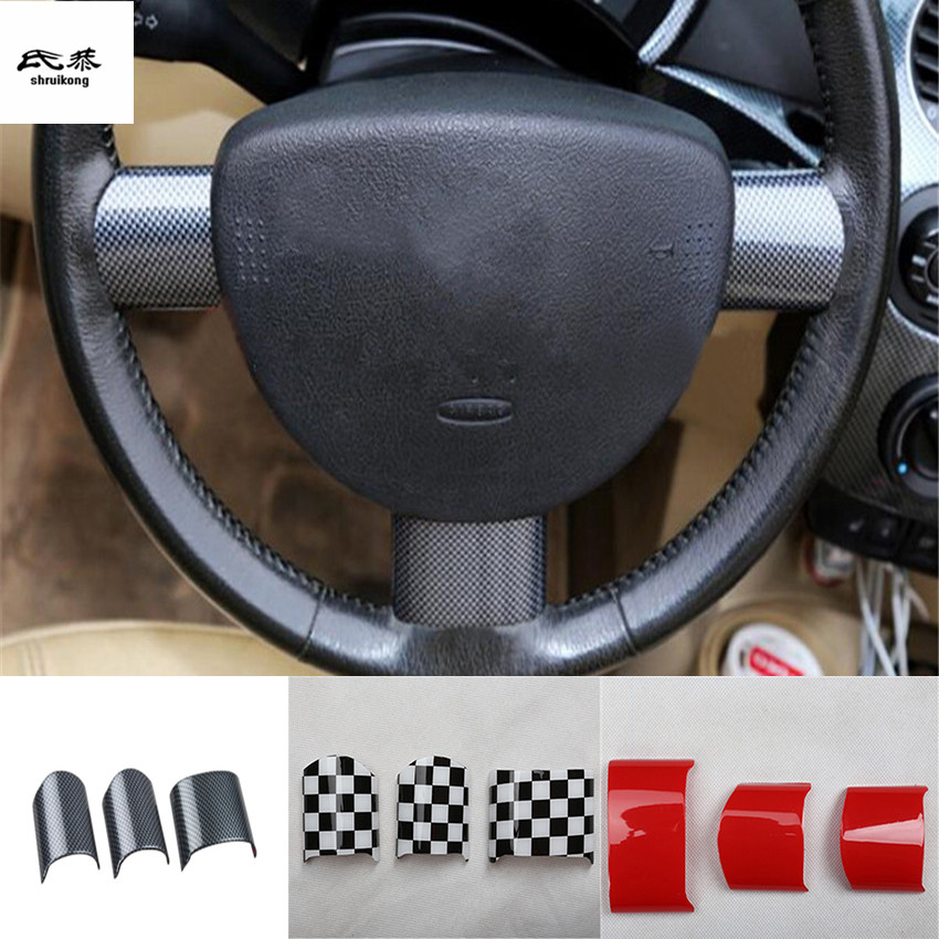 Free shipping 3pcs lot Car stickers ABS material steering wheel decoration cover for 2003 2012 Volkswagen