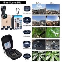 APEXEL HD Camera Lens 5in1 Fisheye Wide Angle Macro Zoom Cpl Lens For Apple Iphone Xiaomi
