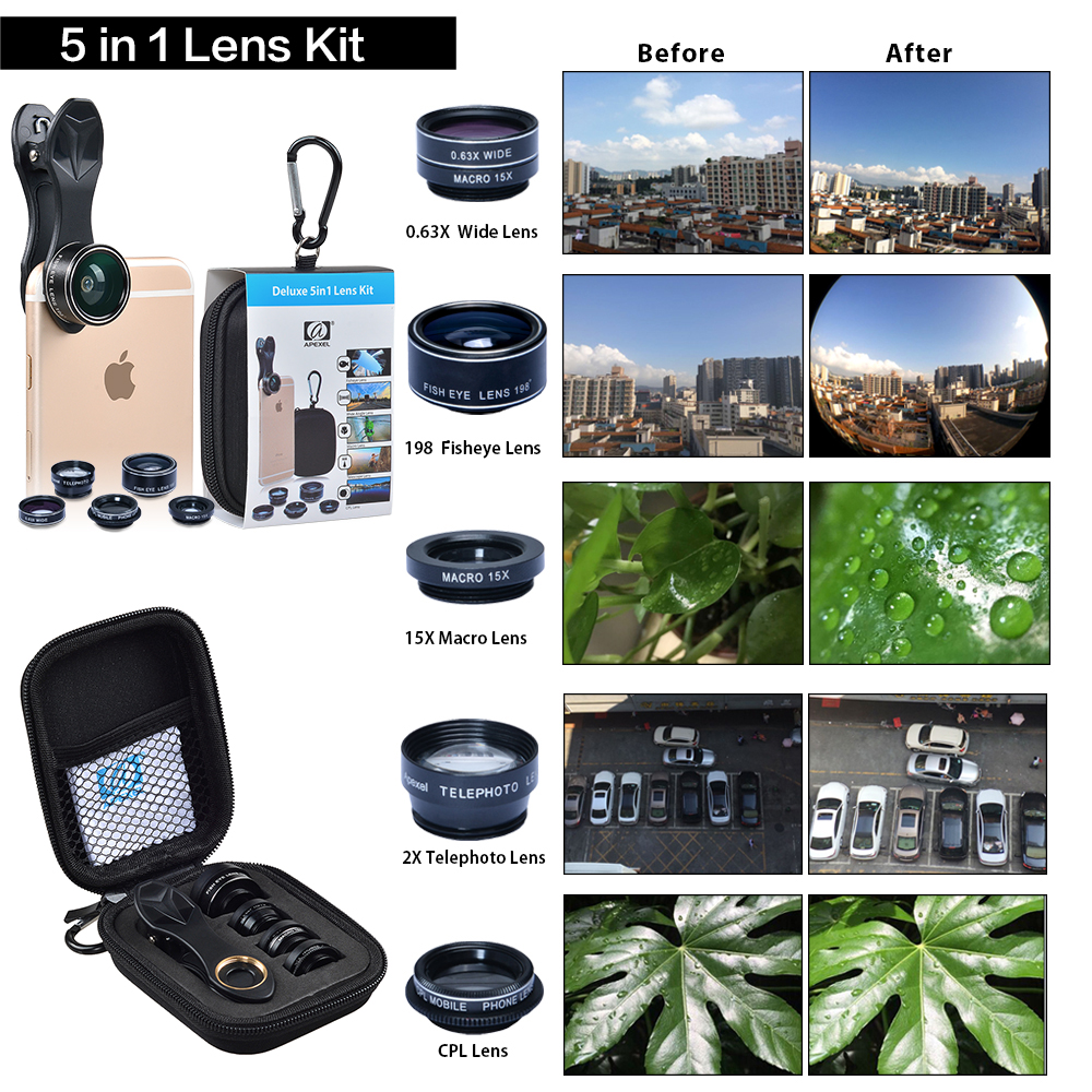 Lente de cámara APEXEL HD 5in1 ojo de pez gran angular macro zoom cpl lente para apple iphone6 xiaomi samsung huawei htc Android Smartphone