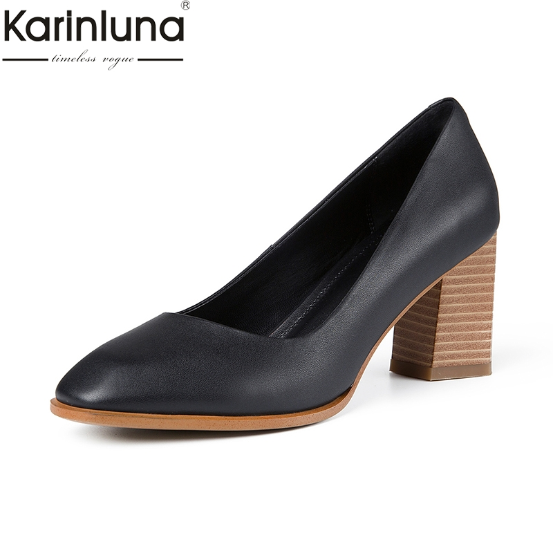 KarinLuna Pointed Toe Chunky Heels Brand New Genuine Leather Classics Fashion women s Pumps Mature Elegant
