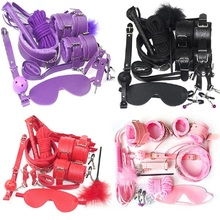 10 Pcs/set Sexy Lingerie PU Leather bdsm Bondage Set Sex Hand Cuffs Footcuff Whip Rope Blindfold Erotic Toys For Couples