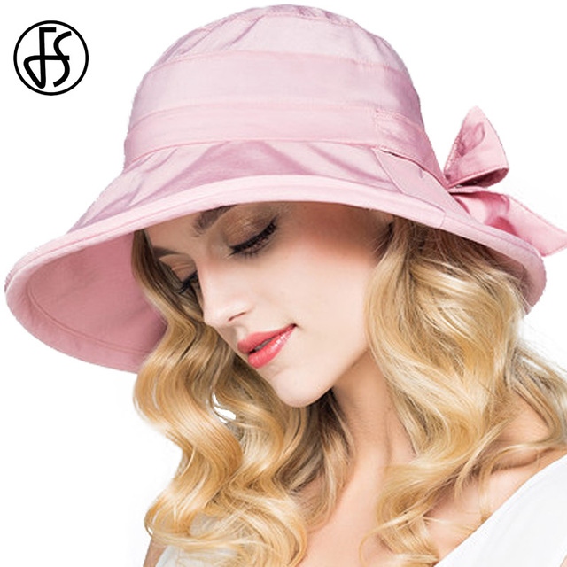 0820fb24048 FS Fashion Sun Cap For Women Summer Foldable Bow Beach Wide Brim UV Visor  Hat Sunhat Floppy Outdoor Female Sombrero Playa Mujer