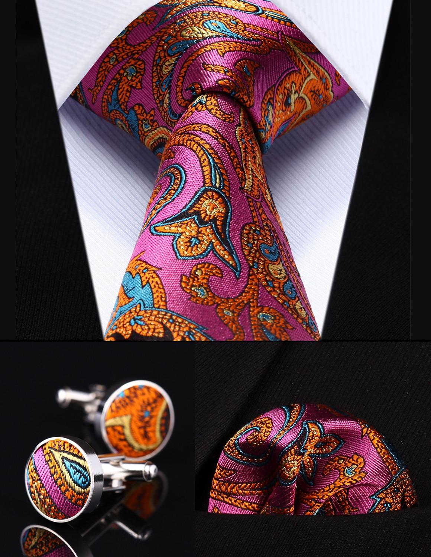 Parti De Mariage Classique Poche Carré Cravate TZP12K8 Rose Orange Paisley 3.4 Soie Hommes Cravate Cravate boutons de Manchette de Mouchoir Ensemble