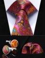"""Pocket Square Wedding Party Classic Corbata TZP12K8 Rosa Naranja Paisley 3.4 """"de Seda lazo de Los Hombres Corbata y Gemelos Conjunto"""