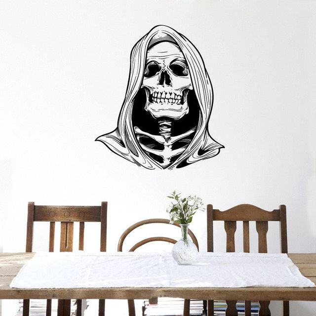 ZUCZUG Halloween Decoration 3D Skull Wall Decals Removable Scary Festival  Stickers Wall Art Mural Waterproof Home