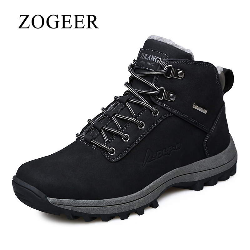 ZOGEER Size  Winter With Fur Men Boots Quality Kid Leather Men