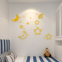 Acrylic mirror stickers 3D effect stars and moon shaped stick on children room cartoon style stickers wall bedroom decor