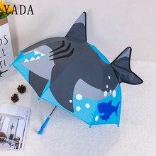 YADA New Design Cartoon 3D Ocean World Shark Umbrella Rainproof Sun Rainy  Parasol Animals Print Cute Long Handle YD049