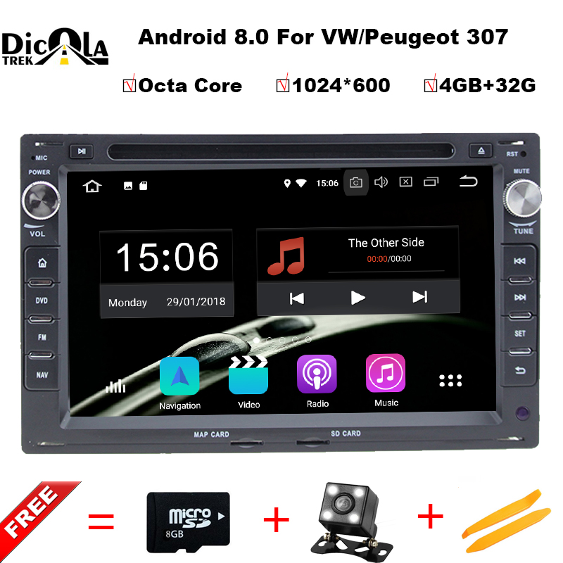 Octa Core Android 8.0 Car DVD GPS Radio For Old VW Transporter T4/T5 Bora Passat Mk5 Golf Mk4 Polo Jetta Peugeot 307 1998-2008 ...