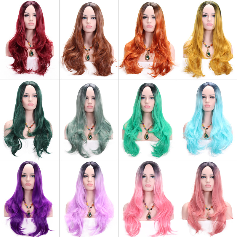 High Quality Middle Party Dark Root Black Pink Ombre Wig Synthetic Hair Long Wavy Wigs For Women Heat Resistant 28inch