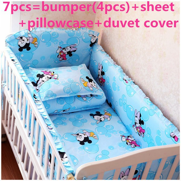 Promotion! 6/7PCS Cartoon Cotton Baby Cot Bedding Set Cartoon Crib Bedding ,120*60/120*70cm promotion 6 7pcs cotton baby bedding set cot crib bedding set baby sheets wholesale 120 60 120 70cm