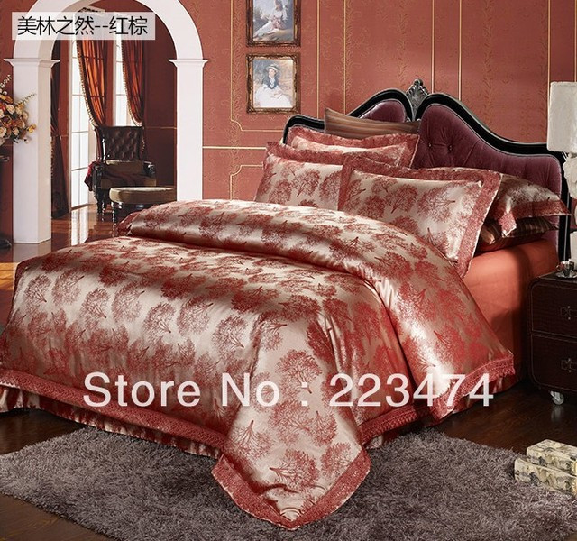 free shipping!Luxury  silk bedding set queen/king size 4PCS for wedding star hotel bedding products duvet cover /bed sheet