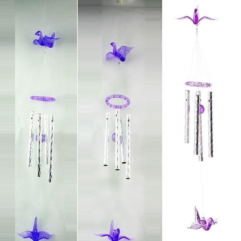 Plastic Wind Chimes Cranes Outdoor Yard Garden Home Decor Ornament W// Metal Tube