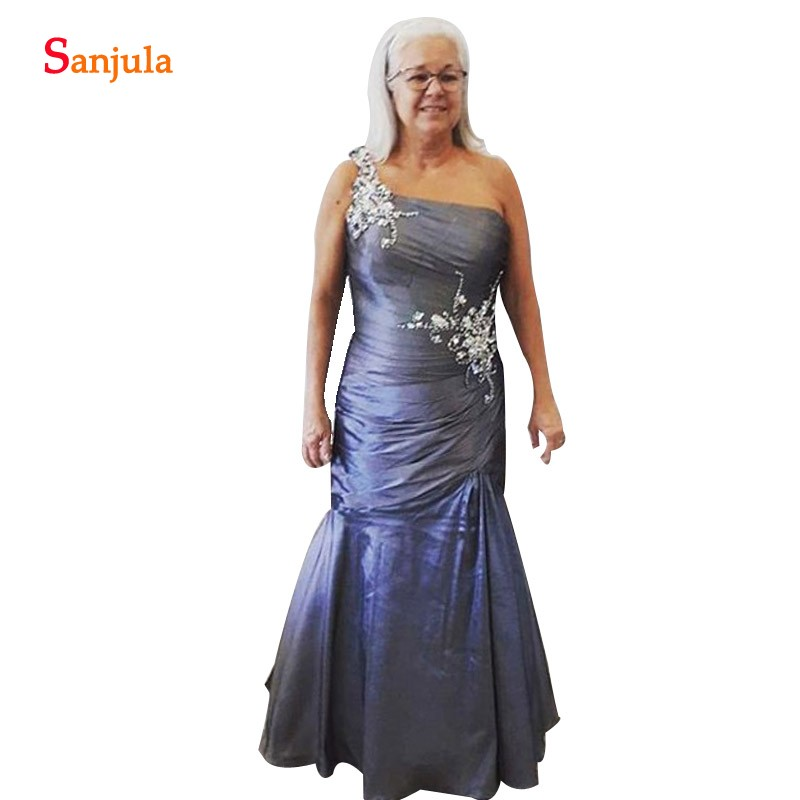Beaded One Shoulder Grandmother Dress Mermaid Long Taffeta Mother Of The Bride Dress Evening Party Gowns Vestido Noiva MY12
