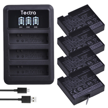 Tectra В 4 шт. 3,80 мАч 1450 в оригинальный Ми Цзя к К батарея светодио дный LED 3 слота USB зарядное устройство для спорта Сяо Ми Цзя миниатюрная экшен-камера батарея