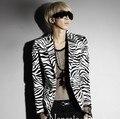 2016 новая мода этап одежда для мужчин корейский мужской сексуальный зебра печать костюм человек slim fit blazer хлопка пиджак терно masculino
