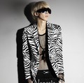 2016 new fashion stage clothing for men korean male sexy zebra print suit man slim fit blazer cotton suit jacket terno masculino