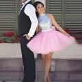 Baratos vestidos de Baile Vestidos de Graduación Una Línea de Cuello Alto Con Lentejuelas tul Rosa Short Mini vestido de Cóctel Vestidos Del Partido vestidos de baile 2017