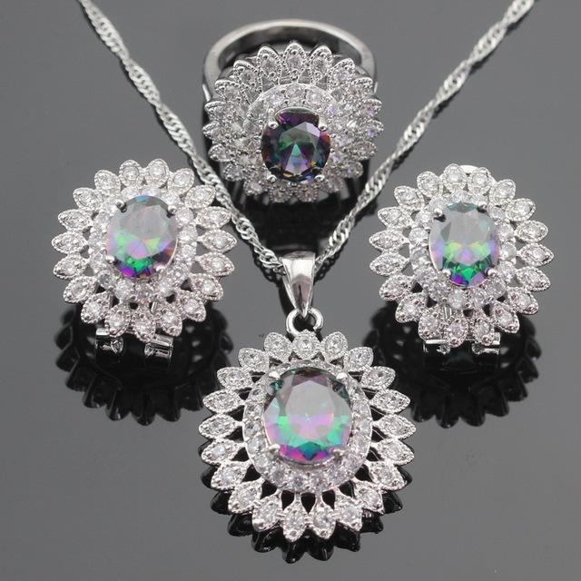 Color de plata Juegos de Joyería Multicolor Arco Iris Creado Topacio Pendientes/Colgante/Collar/Anillos Para Las Mujeres Regalo de Navidad caja