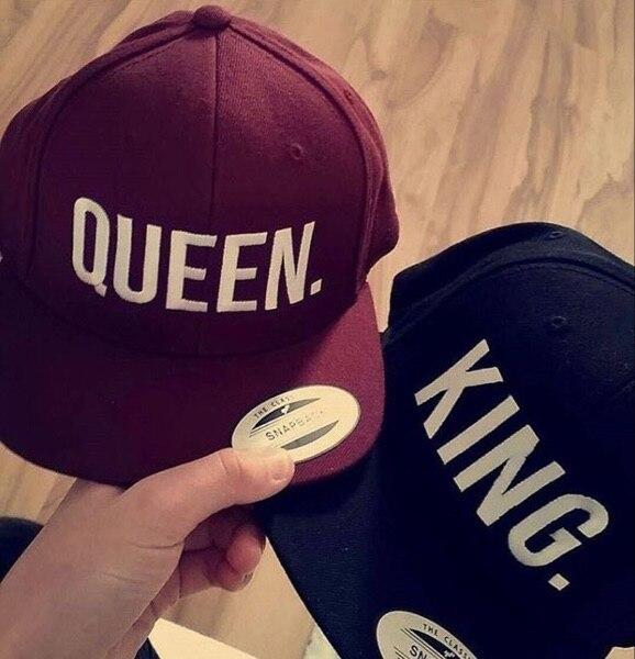 Gorra de béisbol para hombres y mujeres con bordado de Snapback KING QUEEN  regalos para amantes 17f21c2c6eb