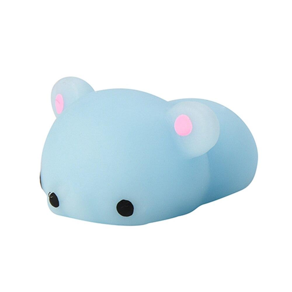 Cute Mochi Squishy Blue Bear Squeeze Healing Fun Kids Kawaii Toy Stress Reliever car house window Decoration