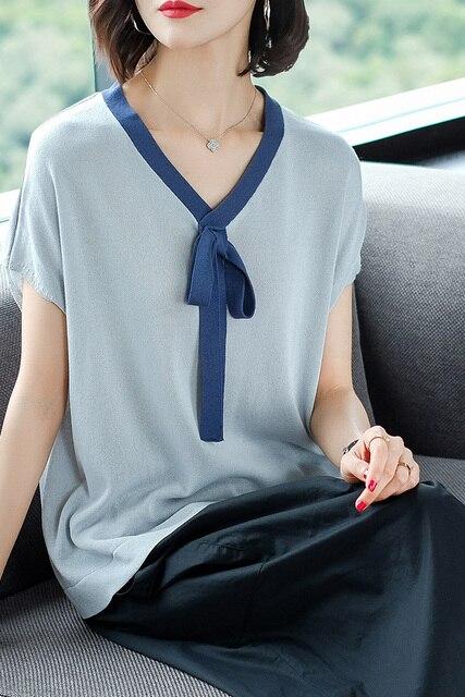 2019 Camiseta con cuello en V y camiseta de manga corta de mujer nuevo tipo Red Top, camisa con lazo de mariposa, verano de temporada