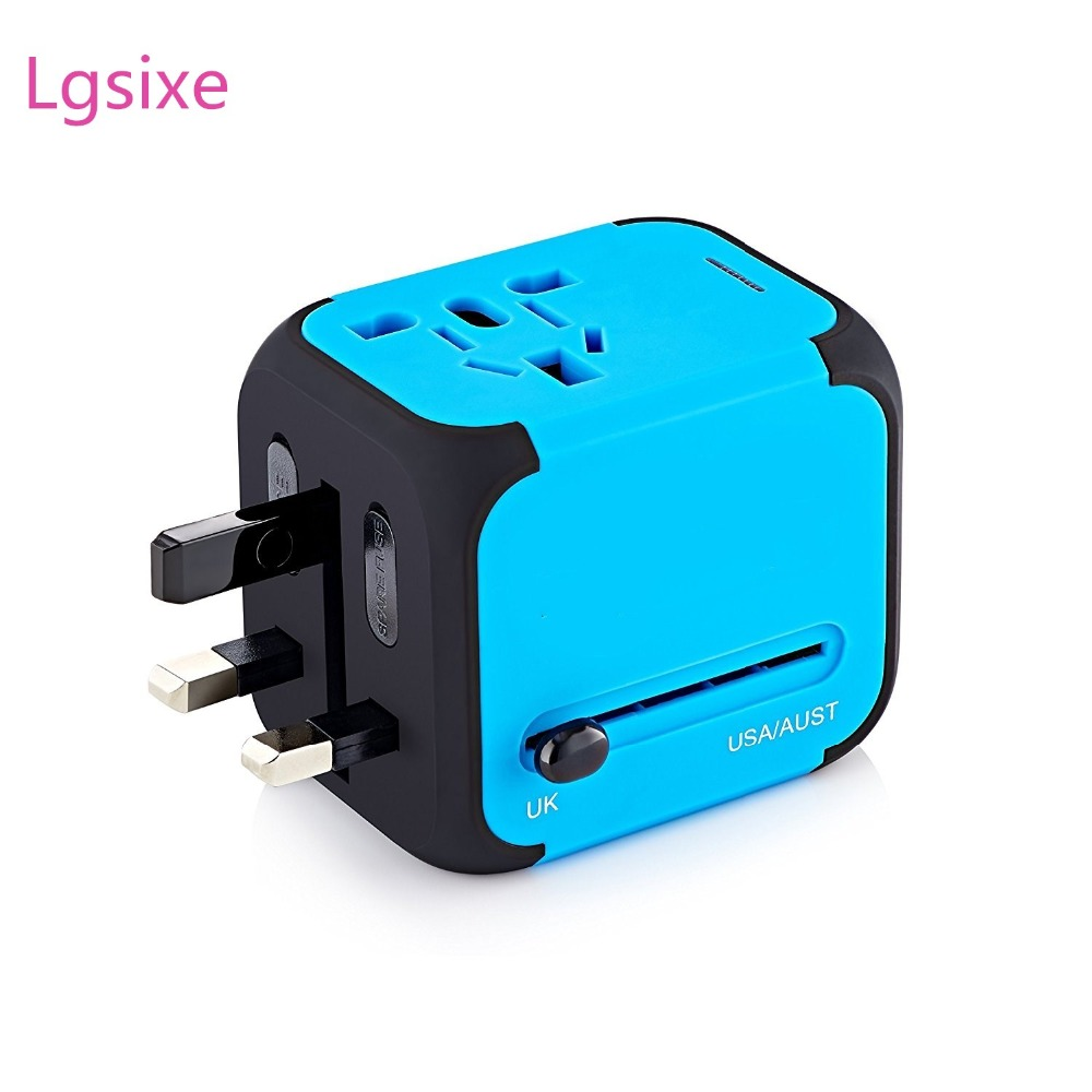 Lgsixe A -103 Universal Travel Adapter 2.4A Dual USB Wall Charger eu to us plug in adaptor EU UK US AU