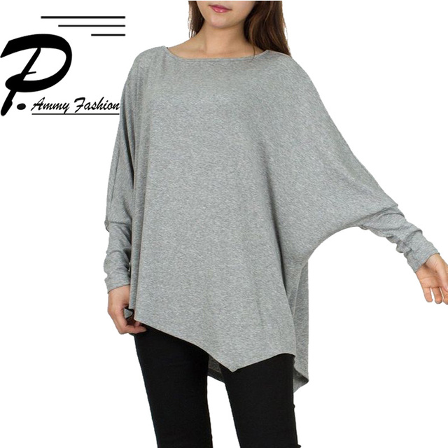 Womens Plus Size Batwing Sleeve Irregular hem Loose T Shirts 2017 Autumn Lagenlook Crew Neck  Shirts Casual Loose Tops T-Shirts