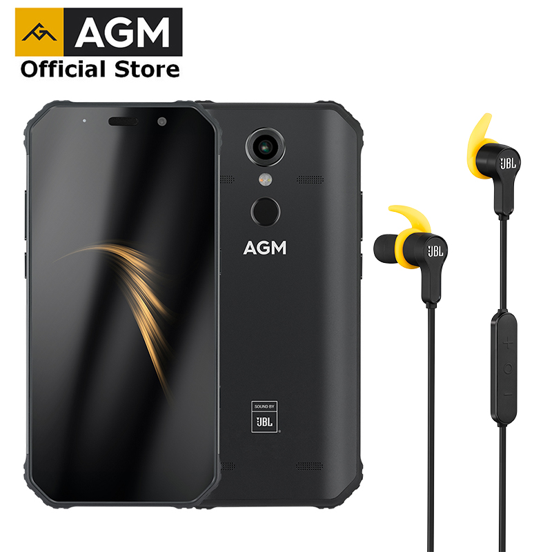 OFFICIAL AGM A9 + JBL earphone FHD+ JBL Co Branding Smartphone 4G Android 8.1 Rugged Phone IP68 Waterproof NFC Quad Box Speakers