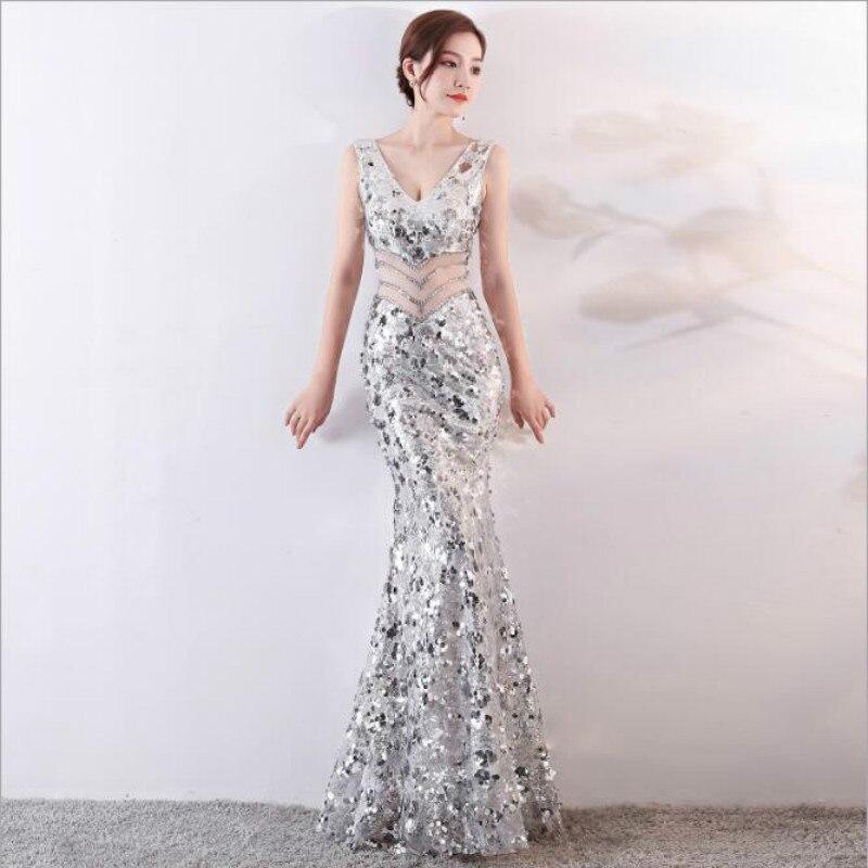 U-SWEAR 2019 Arrival   Bridesmaid     Dresses   V-neck Sequin Vintage Mermaid/Trumpet Sheath Crystal Sexy Elegant Vestidos