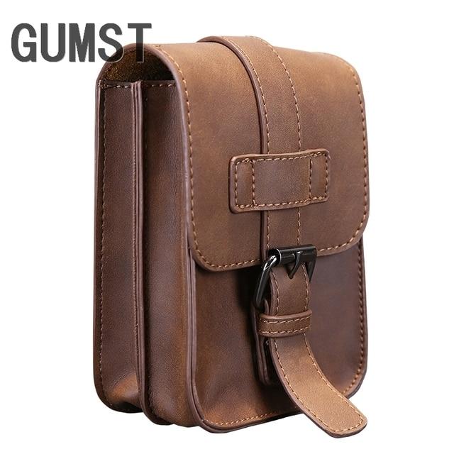 31194107b9c Vintage Crazy Horse PU Leather Mens Waist Bag Travel Fanny Pack Belt Loops  Hip Bum Bag Wallet Purses Phone Pouch