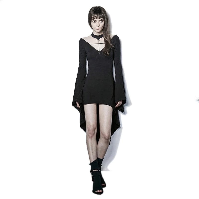 Hot Sale Fashion Gothic Dark Black Witch Dress Sexy Asymmetrical Hem