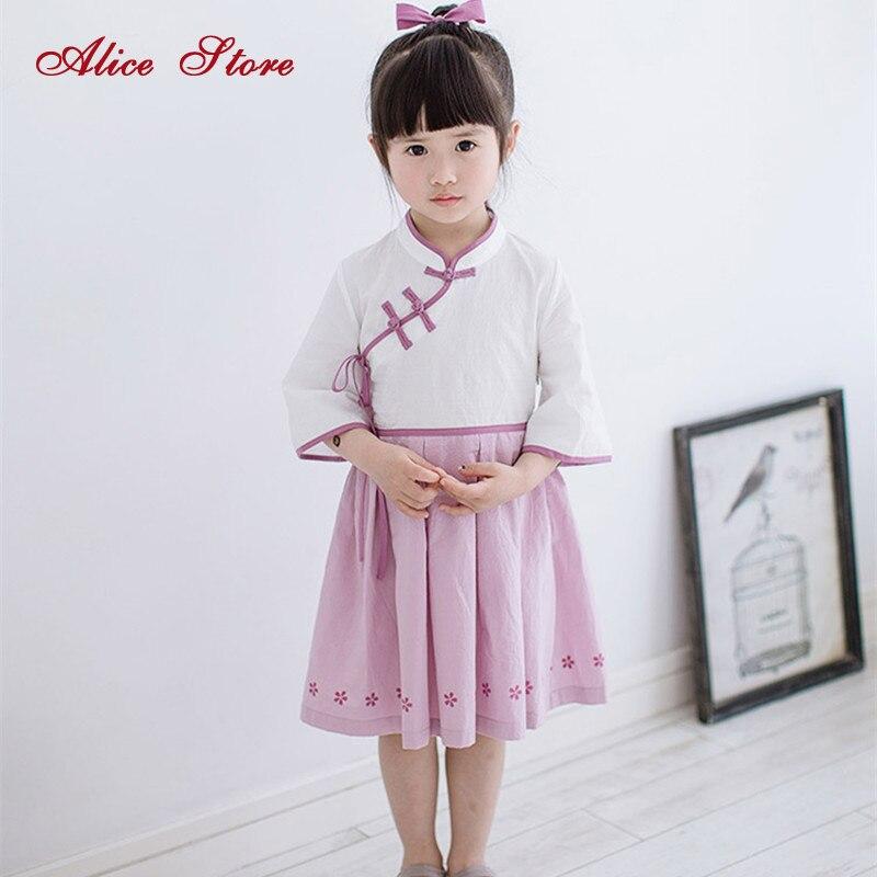 Tjejer Kinesiska kläder klänning 2018 sommar barn baby kinesiska - Barnkläder
