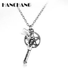Classic Movie Accessories supernatural dean Winchester Gun Pentagram Pendant necklace for mens Jewelry