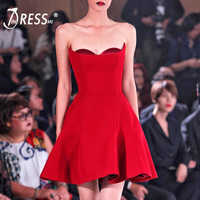INDRESSME Women Strapless A-Line Dress Fashion Slash Neck Backless Split Mini Bodycon Party Dress Vestidos 2019 New Chic