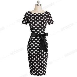 Image 5 - Güzel Sonsuza Kadar Vintage Zarif Retro Polka Nokta Çizgili vestidos İş Parti Bodycon Kılıf Kadınlar kadın elbisesi B536