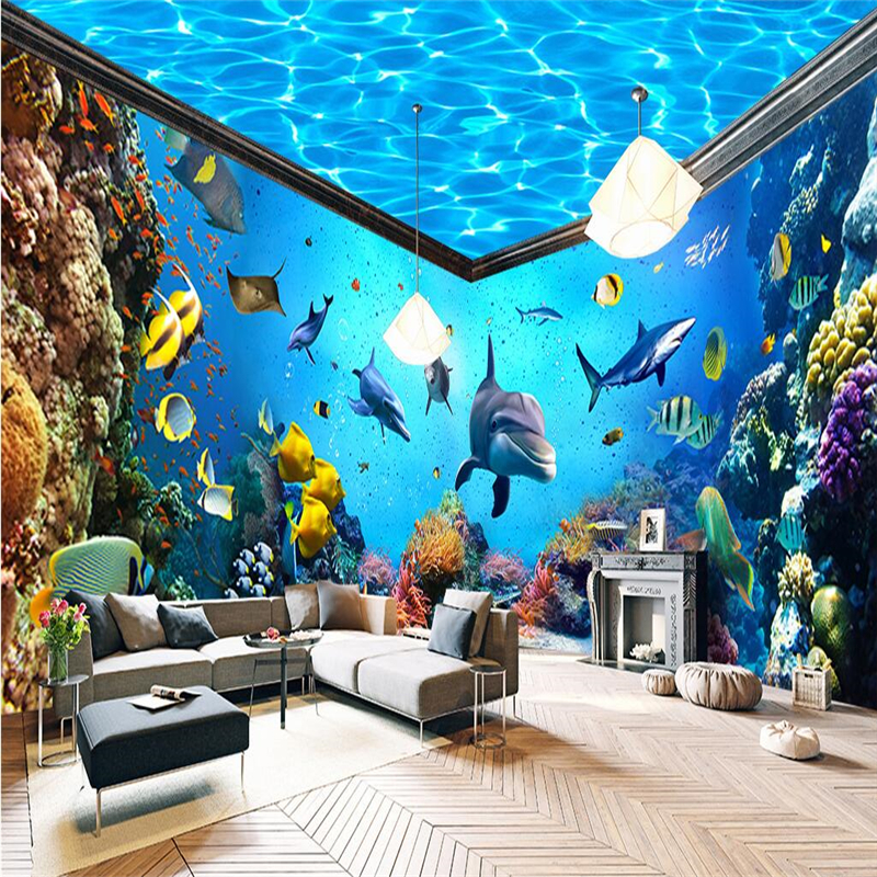 Beibehang underwater world aquarium whole house backdrop for Aquarium mural