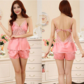 2015 Women Sexy Silk Satin Pajama Set Lace Sleepwear Plus Size Pijama Set Sleeveless Pyjama Set V-neck Nightwear For Summer