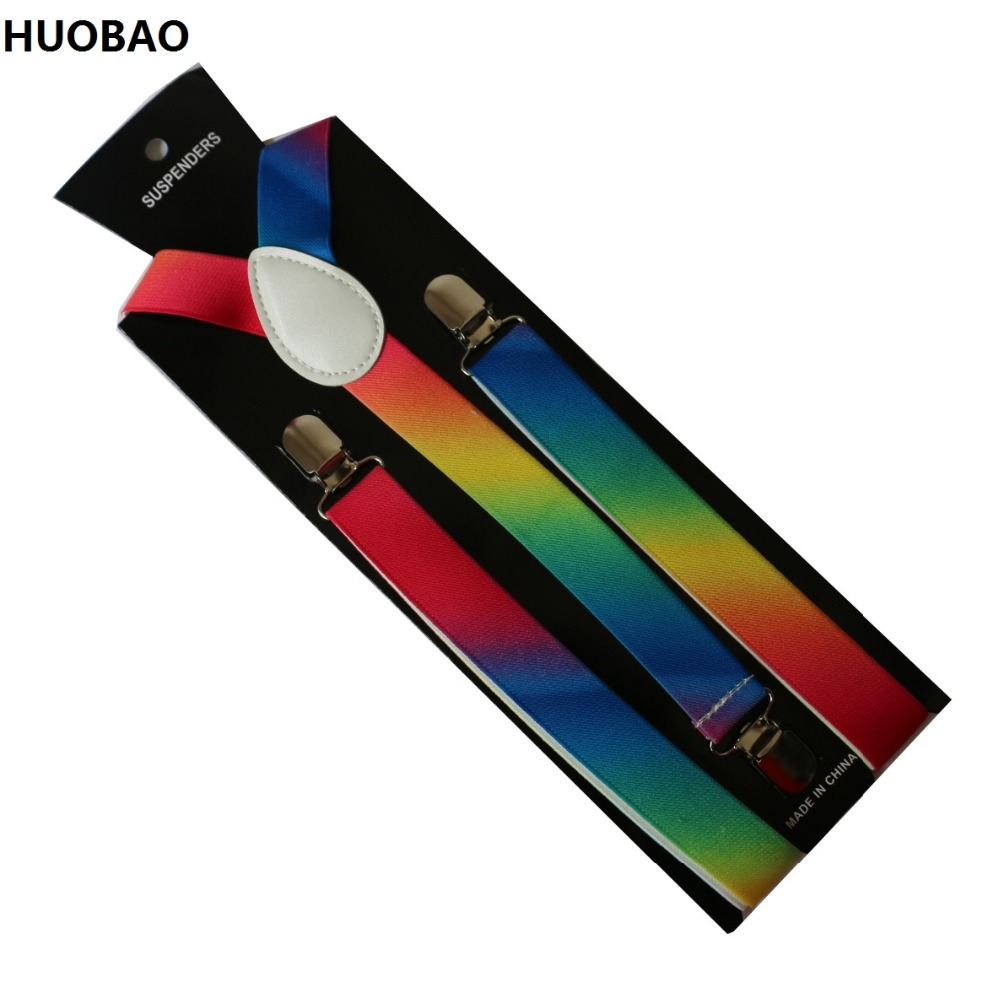 HUOBAO New Fashion2.5cm Wide Rainbow Multicolor Adjustable Clip-on Y Back Elastic Suspenders For Women Men