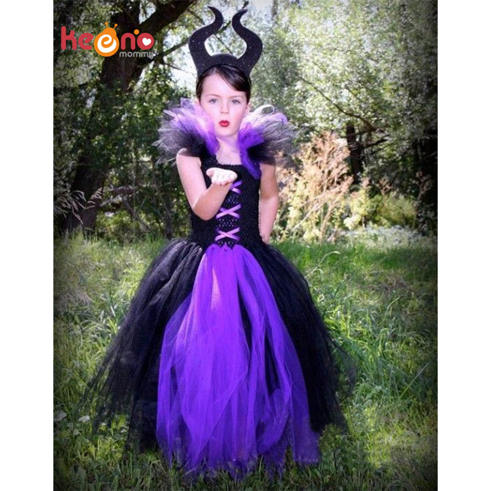 Maleficent Evil Queen Girl Tutu Dress With Horns Halloween Photo Prop Purim Kids Baby Fancy Costume Handmade Dress TS127