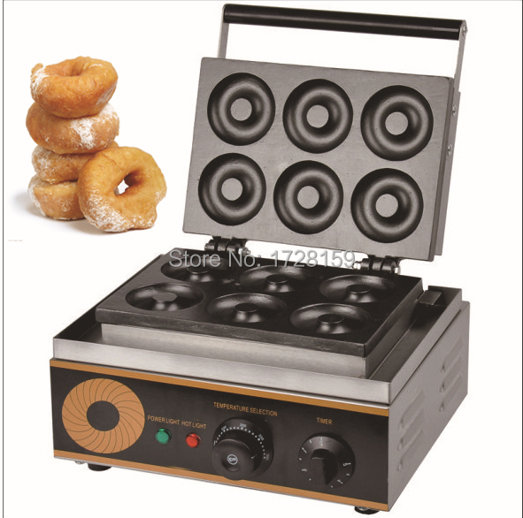 110v/220v electric six pieces Donut Maker Machine,commercial donut making machine 90mm big size donut waffle machine automatic electric mini commercial donut making machines