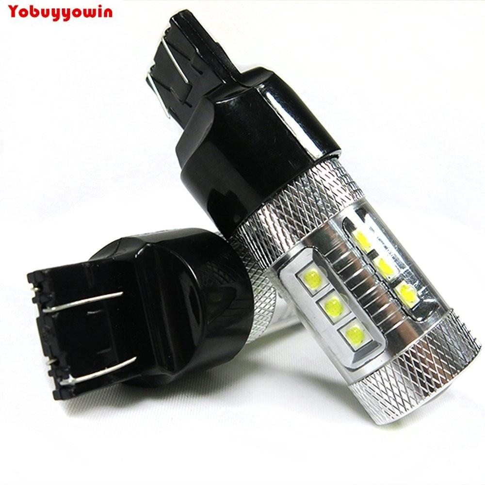 New Brights 2 Pcs T20 7440 7444NA 80W High Power Cree Chips LED Backup Reverse Fog Turn Brake Light Lights Bulb Lamp 800LM White