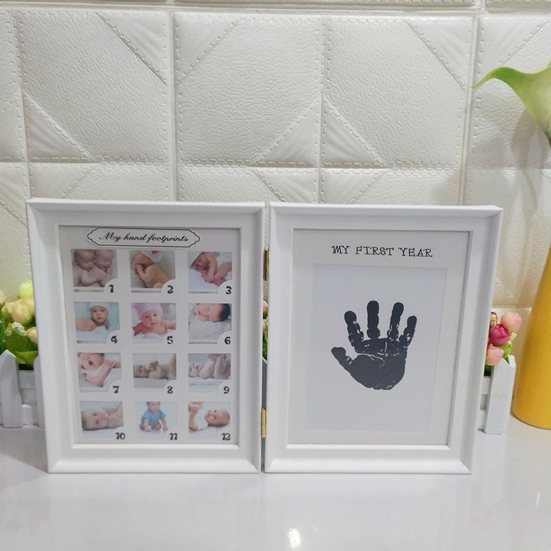 Marco de la foto del bebé recién nacido DIY Handprint huella Inkpad ...